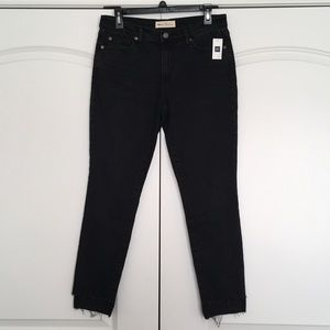 Gap 1969 True Skinny Black Jeans Size 28 Raw Hems